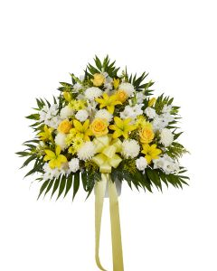 Heartfelt Sympathies Basket Yellow