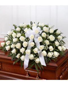 Rose Half Casket In White